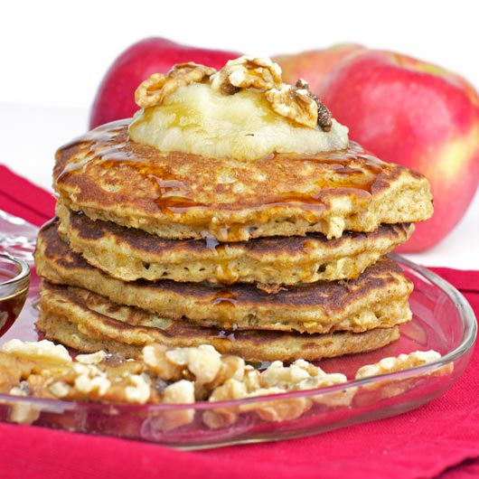 Stack of Applesauce Oatmeal Pancakes