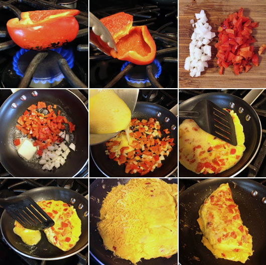 Making a Roasted Red Pepper Omelet
