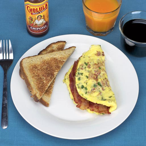 Simple Bacon Omelet With toast
