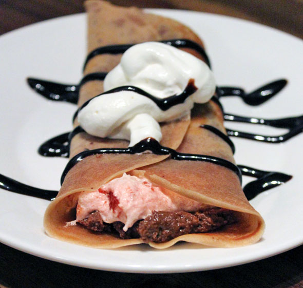 Chocolate Breakfast Crepes With Strawberry Buttercream And Chocolate Peanut Butter