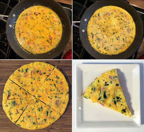 Making A Ham And Corn Frittata