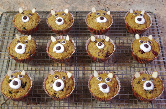 A Dozen Fruit & Veggie Bran Muffin Decorated Like Bears