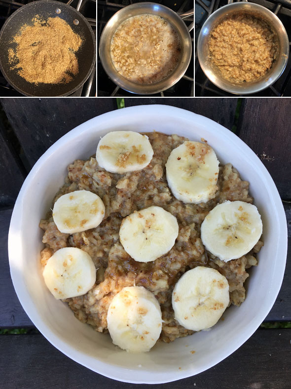 Making Banana Wheat Germ Oatmeal