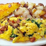 Cheesy Scrambled Eggs with Onions and Spinach