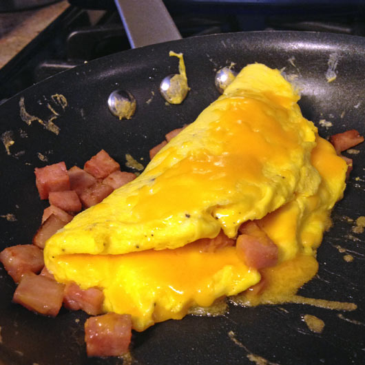 Ham And Cheese Omelette In The Pan