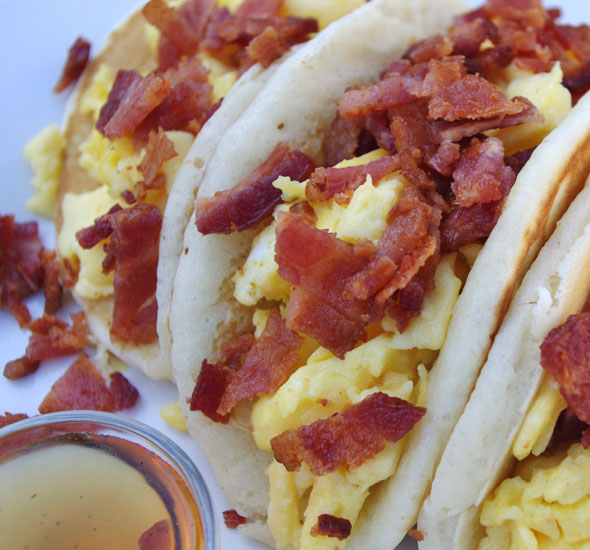 Pancake Tacos with Lots of Bacon
