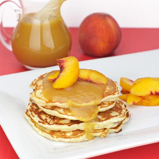 Peach, Banana & Pecan Pancakes