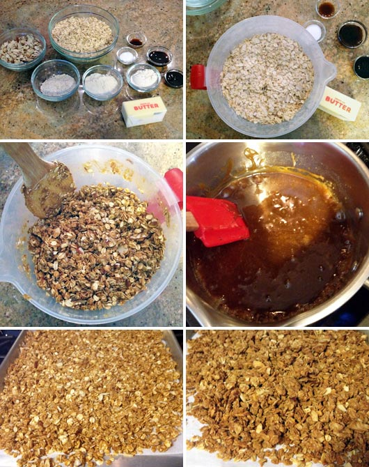 Making Toffee Almond Granola