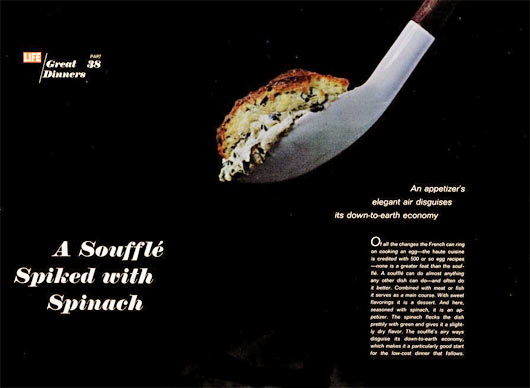 Vintage 1967 Spinach Souffle Article