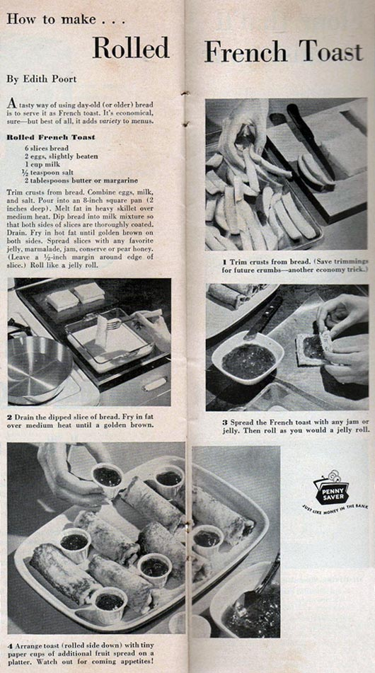 Rolled French Toast (1952 Vintage Recipe)