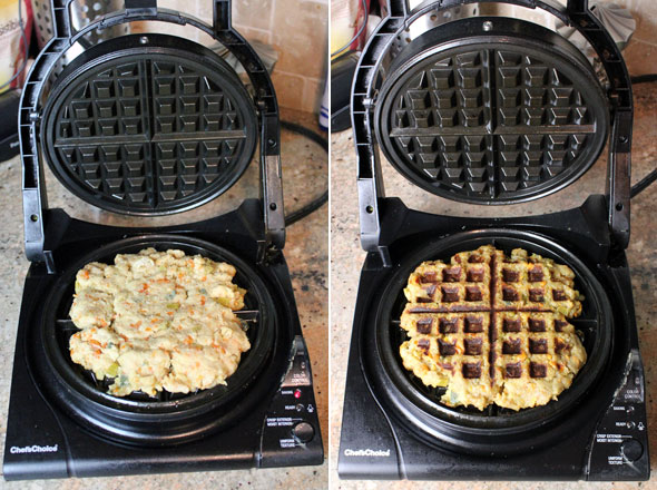 Making Stuffing Waffles