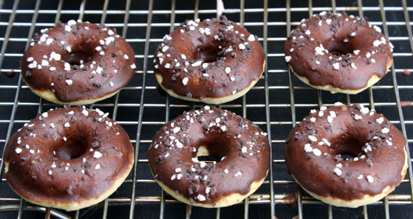 Mini Baked Cake Donuts With Chocolate Icing