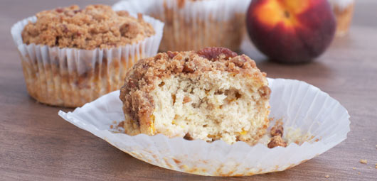 Pecan Peach Muffin Ripped In Half