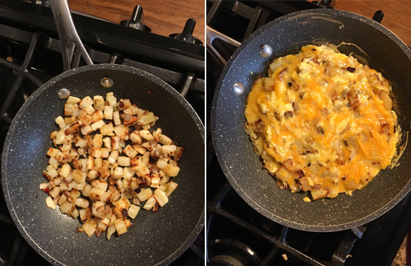 Making a Cheddar Potato Frittata