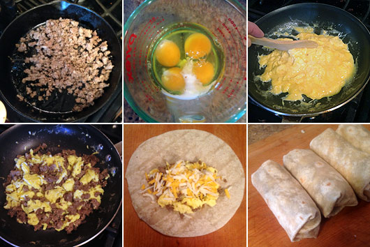Making Basic Sausage Breakfast Burritos