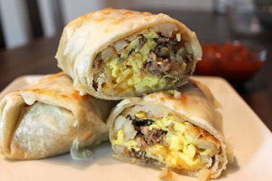 Basic Sausage Breakfast Burritos