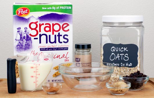 Cinnamon Raisin Grape-Nuts Oatmeal Ingredients