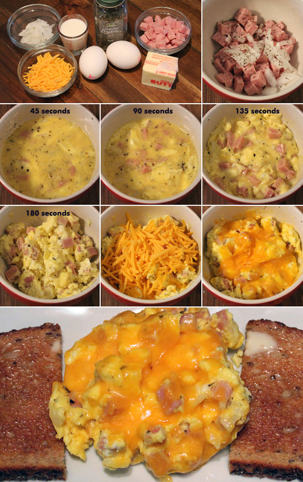 Scrambled eggs and ham microwave recipe mrbreakfast scrambled eggs and ham microwave forumfinder