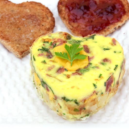 Heart-Shaped Ranch Style Brunch Eggs