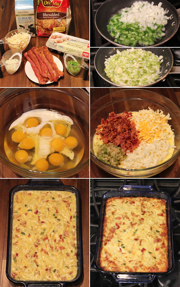 Making a Hash Brown Breakfast Casserole w/ Bacon