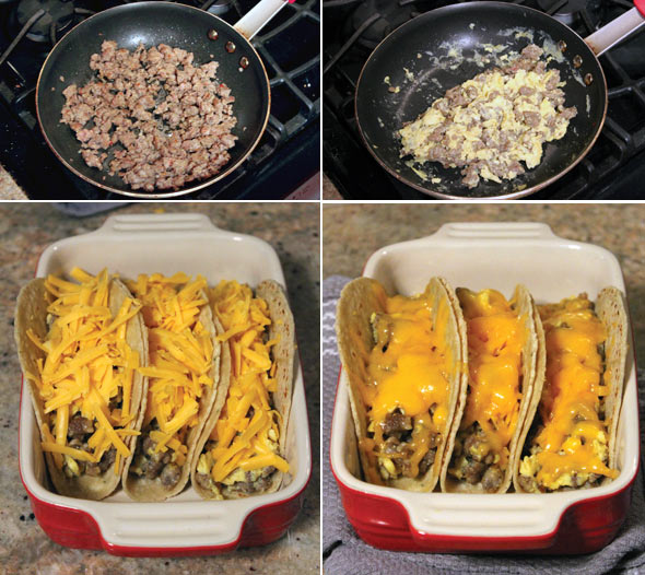 Making Sausage Stuffed Soft Breakfast Tacos