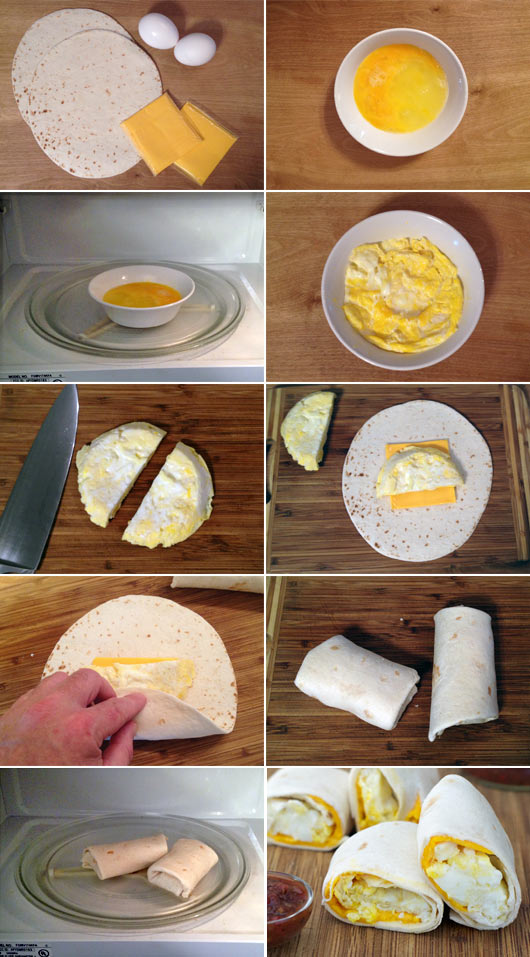 Egg and cheese tortillas recipe mrbreakfast making egg and cheese tortillas aka two minute breakfast burritos forumfinder Images
