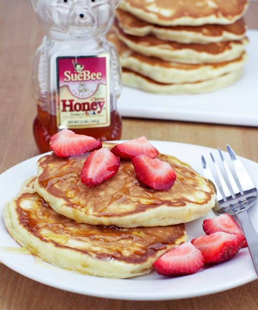 Honey Apple Pancakes With Strawberries