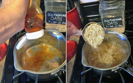 Making Apricot Honey Oatmeal