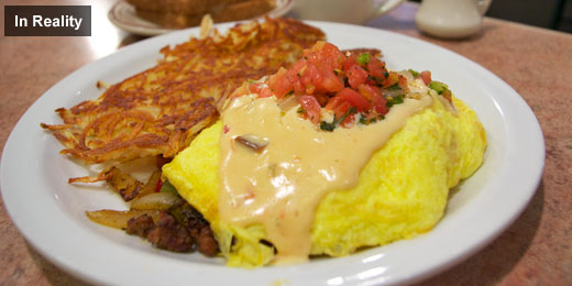 Denny's Chorizo Tortilla Omelette In Reality