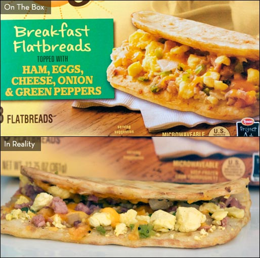 Ham, Eggs, Cheese Onion & Green Peppers Day Starts Breakfast Flatbreads
