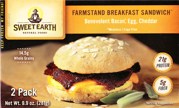 Farmstand Flaxbread Breakfast Sandwich (with) Benevolent Bacon, Egg (and) Cheddar