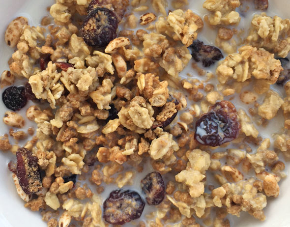 Bowl of Cranberry Vanilla Grape-Nuts Trail Mix Crunch