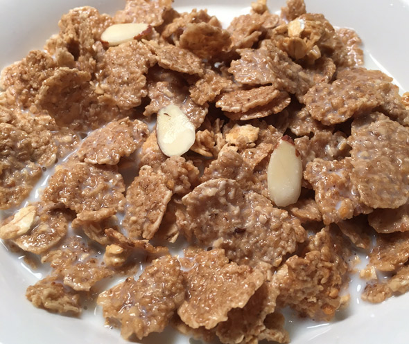 A bowl of Quaker Honey Vanilla Multigrain Flakes Cereal
