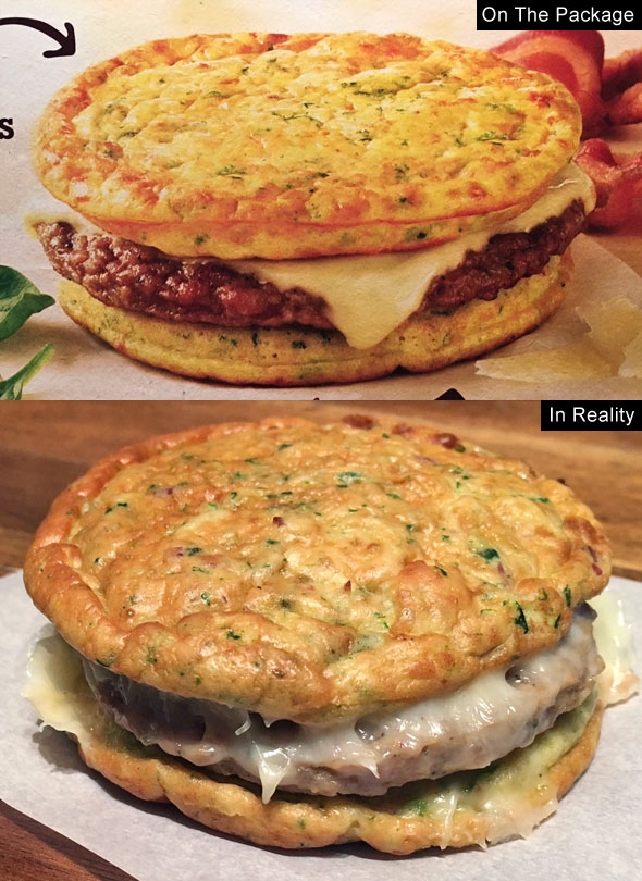 Jimmy Dean Delights Egg'wich In Reality: Bacon, Spinach, Caramelized Onion and Parmesan Egg Frittatas with Turkey Sausage and Cheese