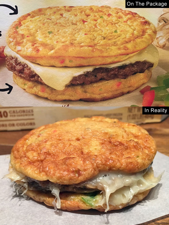 Jimmy Dean Delights Egg'wich In Reality: Ham, Bell Pepper, Mushroom, Bacon and Onion Egg Frittatas with Turkey Sausage and Cheese