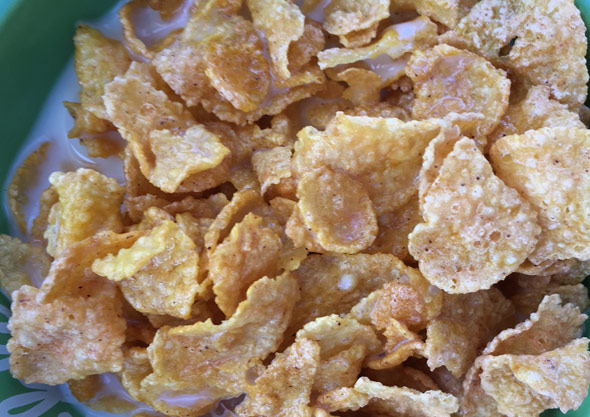 Bowl of Pumpkin Spice Frosted Flakes Cereal