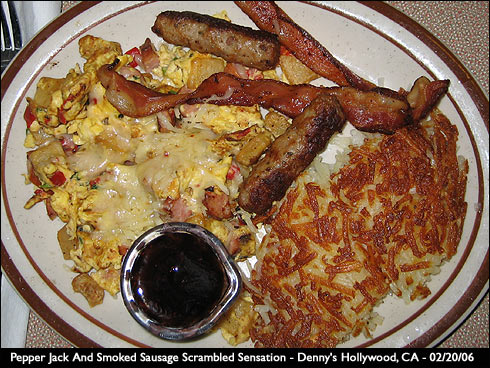 Denny's Pepper Jack And Smoked Sausage Scrambled Sensation