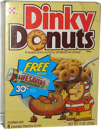 Dinky Donuts Cereal Box