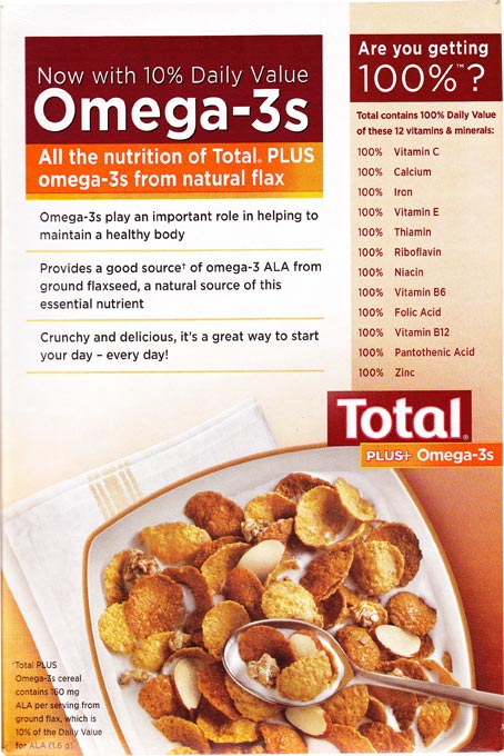 Total Plus Honey Almond Flax - Back