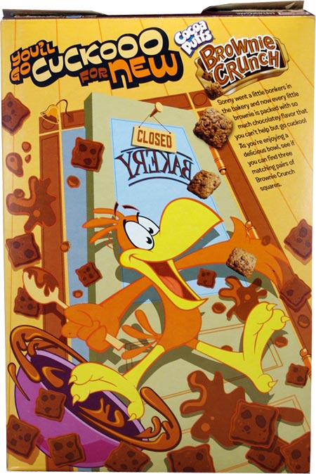 Cocoa Puffs Brownie Crunch: Brownie Crunch Cereal Box - Back