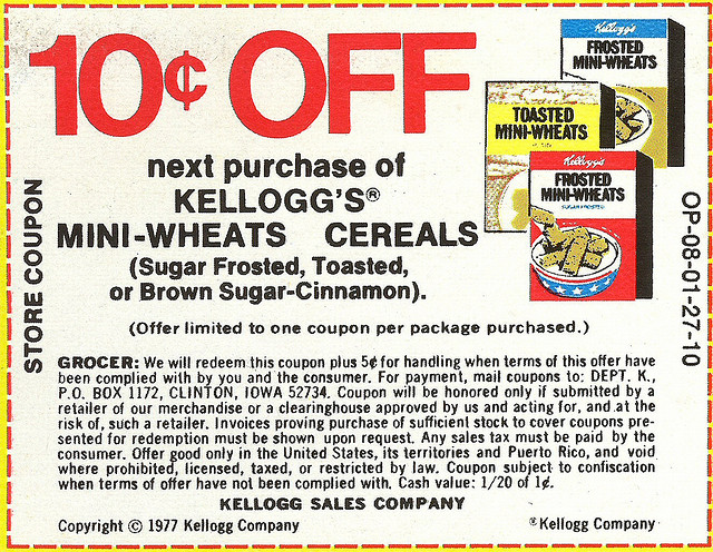 1977 Mini-Wheats Coupon