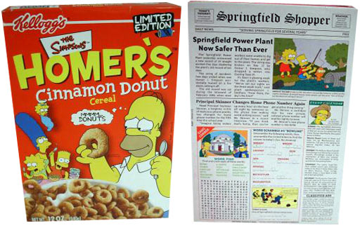 homer u0026 39 s cinnamon donut  front and back of homer cereal