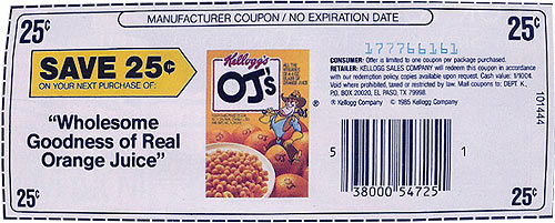 OJs Cereal Coupon