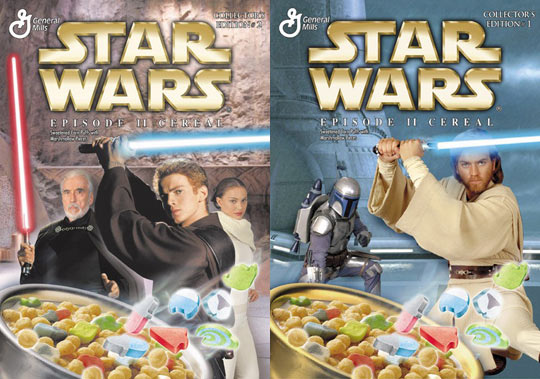 star wars episode ii  both star wars episode ii cereal boxes