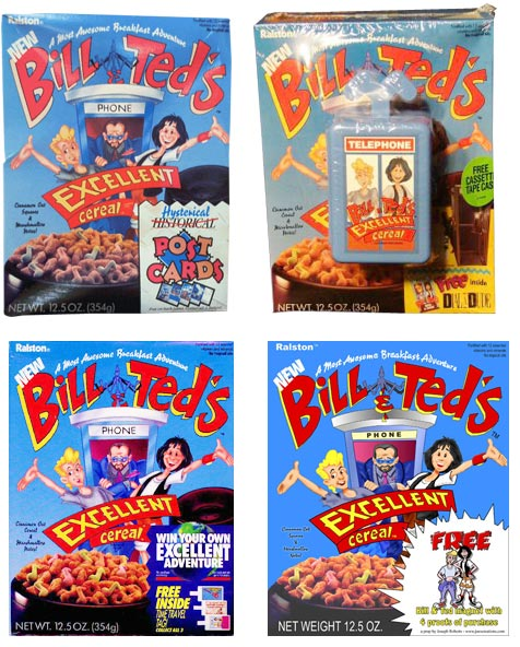 Four Bill & Ted Cereal Boxes