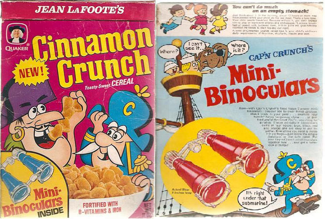 Cereal box prizes 80s