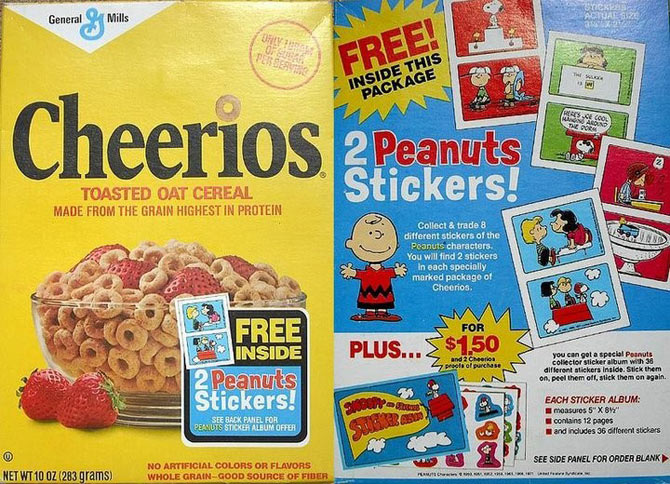 Cheerios Peanuts Stickers Box