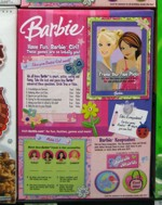 Back of The 2008 Barbie Cereal Box