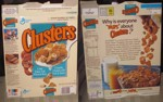 Clusters Cereal Box