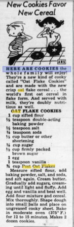 1961 Post Oat Flakes Recipe